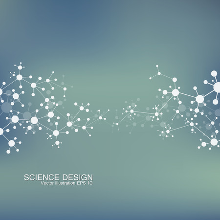 neuroscience: Structure molecule of DNA and neurons. Structural atom. Chemical compounds. Medicine, science, technology concept. Geometric abstract background. Vector illustration for your design