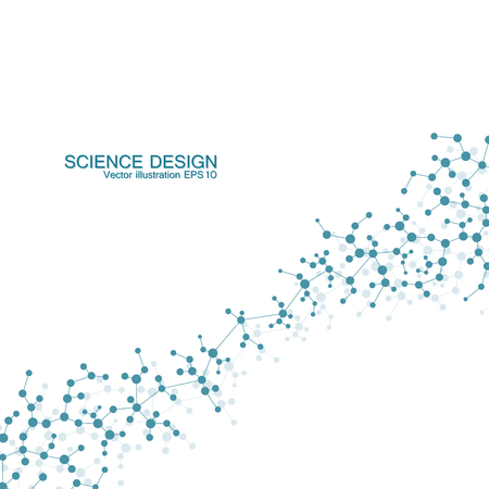 bases: Structure molecule of DNA and neurons. Structural atom. Chemical compounds. Medicine, science, technology concept. Geometric abstract background. Vector illustration for your design
