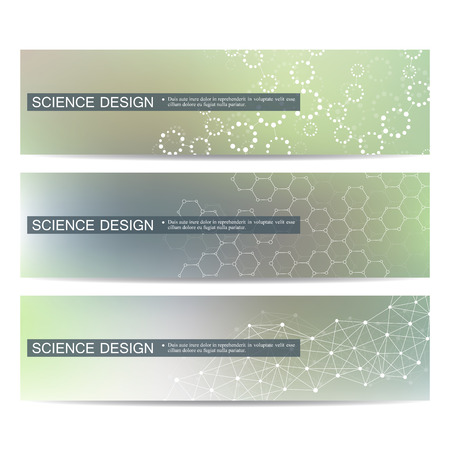 data bases: Set of modern scientific banners. Molecule structure DNA and neurons. Abstract background. Medicine, science, technology. Vector illustration for your design