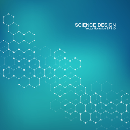 neuroscience: Structure molecule of DNA and neurons. Structural atom. Chemical compounds. Medicine, science, technology concept. Geometric abstract background.  illustration for your design