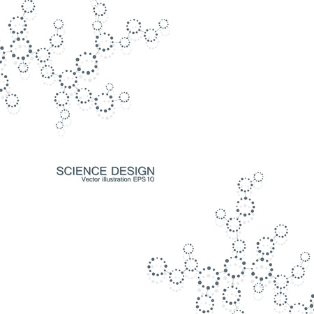 Structure molecule of DNA and neurons. Structural atom. Chemical compounds. Medicine, science, technology concept. Geometric abstract background.  illustration for your design