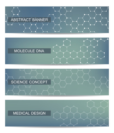 neuroscience: Set of modern scientific banners. Molecule structure DNA and neurons. Abstract background. Medicine, science, technology. Vector illustration for your design