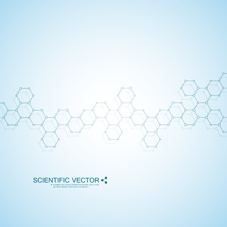 cloning: Structure molecule of DNA and neurons. Structural atom. Chemical compounds. Medicine, science, technology concept. Geometric abstract background. Vector illustration for your design