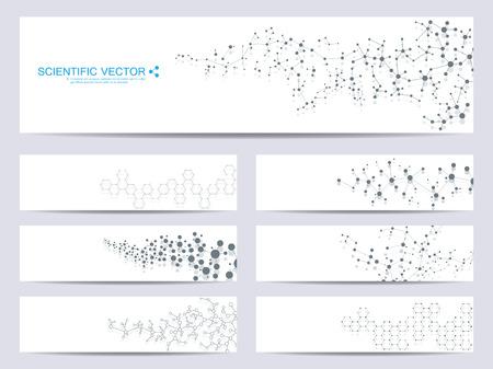 Conjunto de banners científicos modernos. Molécula estructura ADN y neuronas. Fondo abstracto. Medicina, ciencia, tecnología. Ilustración vectorial para su diseño