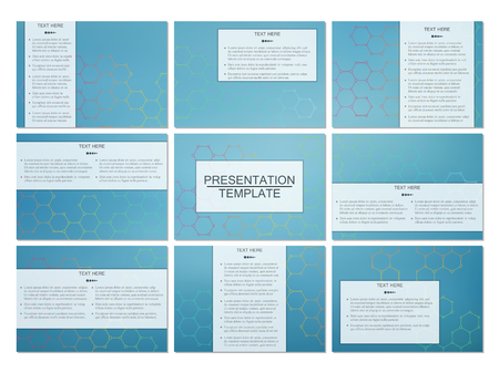 neuroscience: Set of modern business presentation templates in A4 size. Abstract background with molecule structure DNA and neurons. Medicine, science, technology concept. Scalable vector graphics