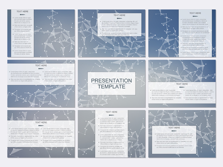 nomenclature: Set of modern business presentation templates in A4 size. Abstract background with molecule structure DNA and neurons. Medicine, science, technology concept. Scalable vector graphics