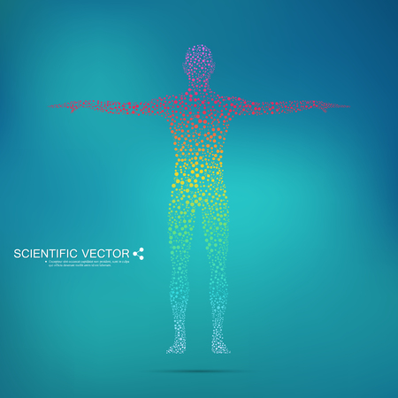 Structure molecule of man. Abstract model human body DNA . Medicine, science and technology. Scientific Vector for your design Illustration