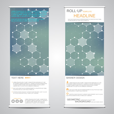 publication: Roll up, vertical banner for presentation and publication. Abstract background