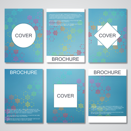 neuroscience: Set of business templates for brochure, flyer, cover magazine in A4 size. Structure molecule DNA and neurons. Geometric abstract background. Medicine, science, technology. Scalable vector graphics Illustration