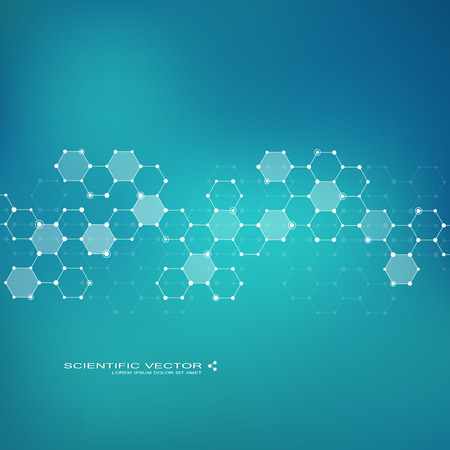 neuroscience: Molecule DNA and neurons vector. Molecular structure. Connected lines with dots. Genetic chemical compounds. Chemistry, medicine, science, technology concept. Geometric abstract background