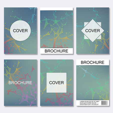 Set of business templates for brochure, flyer, cover magazine in A4 size. Structure molecule DNA and neurons. Geometric abstract background. Medicine, science, technology. Scalable vector graphics Illustration