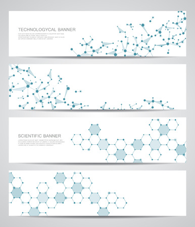 data bases: Set of modern scientific banners. Molecule structure DNA and neurons. Abstract background. Medicine, science, technology, business, website templates. Scalable vector graphics