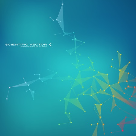 Molecule DNA and neurons vector. Molecular structure. Connected lines with dots. Genetic chemical compounds. Chemistry, medicine, science, technology concept. Geometric abstract background. Illustration