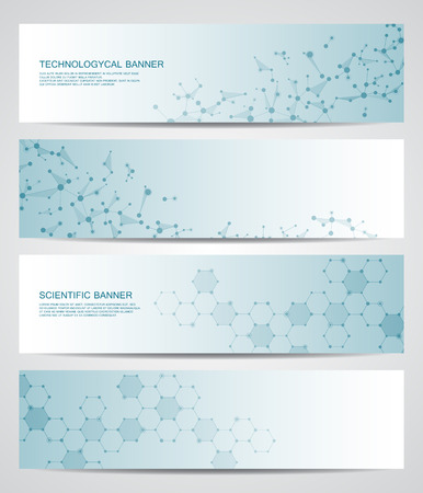 neuroscience: Set of modern scientific banners. Molecule structure DNA and neurons. Abstract background. Medicine, science, technology, business, website templates. Scalable vector graphics.