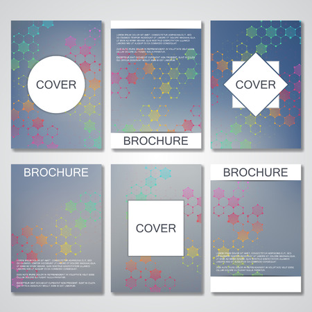 neuroscience: Set of business templates for brochure, cover magazine in A4 size. Structure molecule DNA and neurons. Geometric abstract background. Medicine, science, technology. Scalable graphics