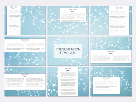 neuroscience: Set of modern business presentation templates in A4 size. Abstract background with molecule structure DNA and neurons. Medicine, science, technology concept.