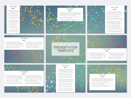 nomenclature: Set of modern business presentation templates in A4 size. Abstract background with molecule structure DNA and neurons. Medicine, science, technology concept. Scalable graphics. Illustration