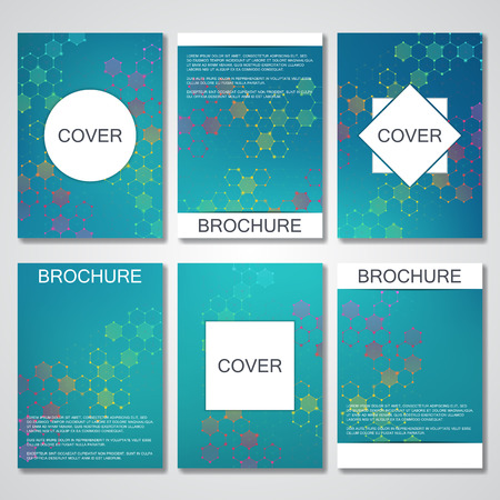 nomenclature: Set of business templates for brochure, flyer, cover magazine in A4 size. Structure molecule DNA and neurons. Geometric abstract background. Medicine, science, technology. Scalable vector graphics Illustration