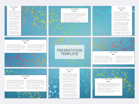 nomenclature: Set of modern business presentation templates in A4 size. Abstract background with molecule structure DNA and neurons. Medicine, science, technology concept. Scalable vector graphics. Illustration