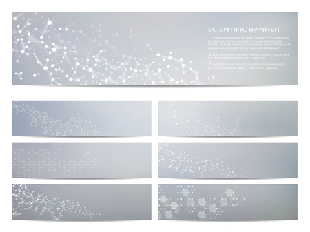 data bases: Set of modern scientific banners. Molecule structure DNA and neurons. Abstract background. Medicine, science, technology, business, website templates. Scalable vector graphics.