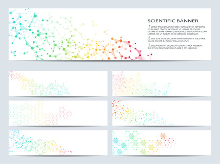 data bases: Set of modern scientific banners. Molecule structure DNA and neurons. Abstract Medicine, science, technology, business, website templates. Scalable vector graphics.