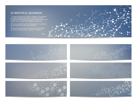 data bases: Set of modern scientific banners. Molecule structure DNA and neurons. Abstract. Medicine, science, technology, business, website templates. Scalable vector graphics.