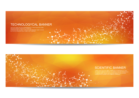 data bases: Set of modern scientific banners. Molecule structure DNA and neurons. Abstract . Medicine, science, technology, business, website templates. Scalable vector graphics.