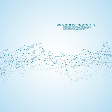 neutron: Molecule DNA and neurons in molecular structure. Illustration