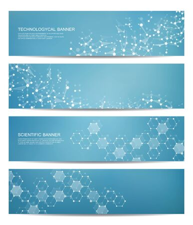 Set of modern scientific banners. Molecule structure DNA and neurons. Abstract background. Medicine, science, technology, business, website templates.