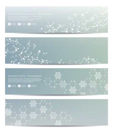 science scientific: Set of modern scientific banners. Medicine, science, technology, business and website templates. Vector illustration Illustration