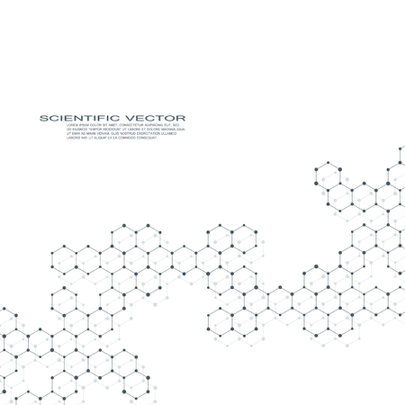 Hexagonal molecule DNA. Geometric abstract background. Vector illustration