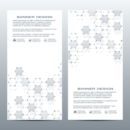 science scientific: 2 of modern vertical scientific banners. Medicine, science, technology, business and website templates. Vector illustration