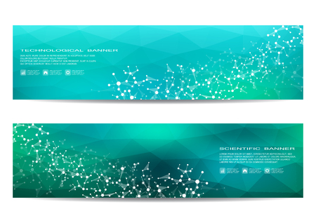 Two scientific banner. Molecular structure of DNA and neurons. Geometric abstract background. Medicine, science, technology, business and website templates. Vector illustration