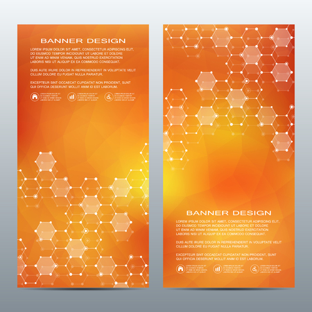 Set of modern vertical scientific banners. Molecule structure of DNA and neurons. Abstract background. Medicine, science, technology, business and website templates. Scalable vector graphics.