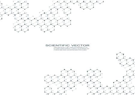 Composés génétiques et chimiques. Concept de chimie, médecine, sciences et technologie. Abstrait géométrique. Atome, ADN et vecteur de neurones.