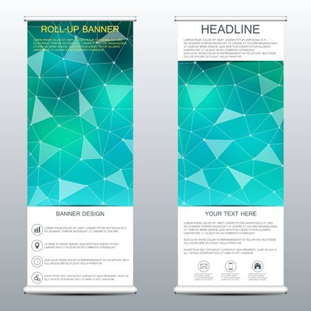 rollup: Roll-up banner templates with molecular structure of dna and neurons.