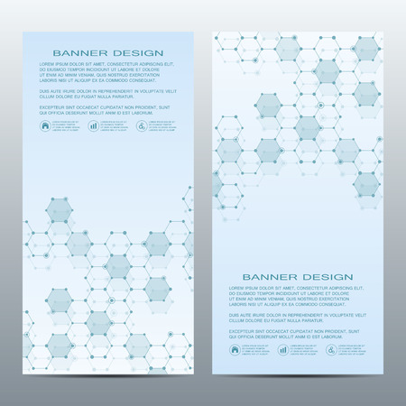Two modern vertical scientific banners with molecular structure of DNA and neurons.