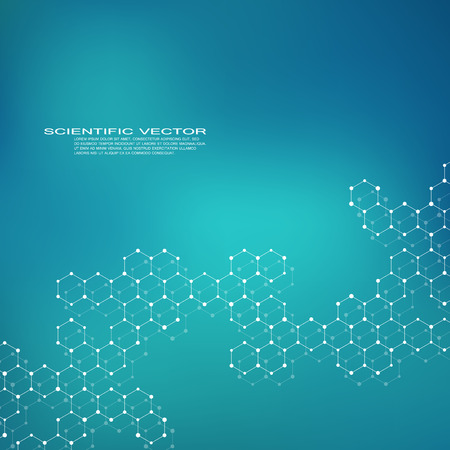 Hexagonal structure molecule dna of neurons system, genetic and chemical compounds, medical or scientific background for banner or flyer, vector illustration