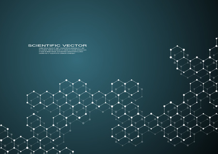 medical technology: Hexagonal structure molecule dna of neurons system, genetic and chemical compounds, medical or scientific background for banner or flyer, vector illustration