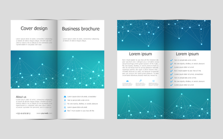 medical technology: Bi-fold business brochure template with molecular structure background, vector illustration