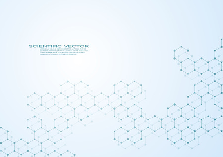 Hexagonal structure molecule dna of neurons system, genetic and chemical compounds. Vector illustration.