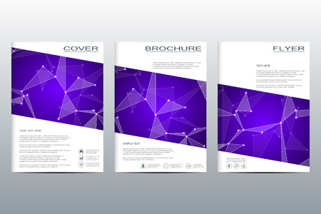 alternating: Brochure template layout, flyer, cover, annual report, magazine in A4 size. Structure of molecular particles and atom.