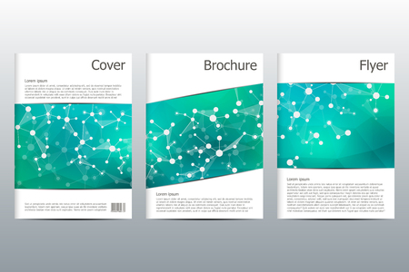 alternating: Brochure template layout, flyer, cover, annual report, magazine in A4 size. Structure of molecular particles and atom. Polygonal abstract background. Vector illustration. Illustration
