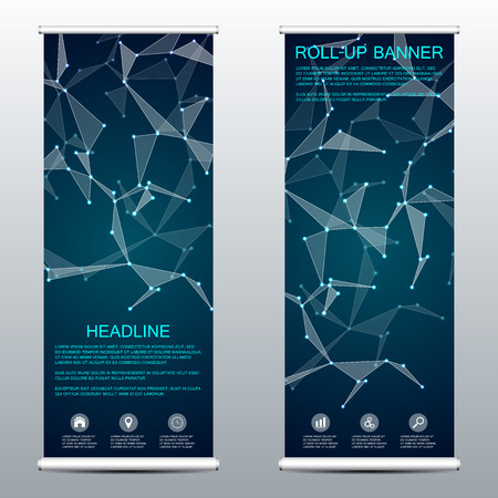 commercial medicine: Roll up banner for presentation and publication. Medicine, science, technology and business templates. Structure of molecular particles and atom. Polygonal abstract background