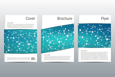 replicate: Brochure template layout, flyer, cover, annual report, magazine in A4 size. Structure of molecular particles and atom. Polygonal abstract background. Vector illustration. Illustration
