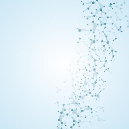 分子構造の dna とニューロン、ドット、遺伝的・化学的化合物、イラストと接続線
