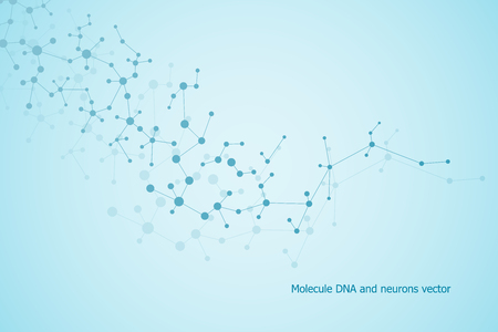 Structure molecule dna and neurons, connected lines with dots, genetic and chemical compounds, vector illustration. Illustration