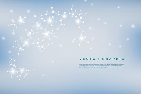 Struktura cząsteczki DNA i neurony, połączone linie z kropkami, związki genetyczne i chemiczne, ilustracji wektorowych