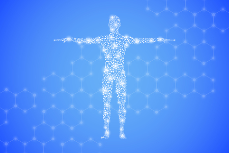 Human body with molecules DNA. Medicine, science and technology concept. Illustration