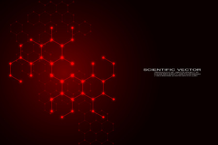 Abstract hexagonal molecule background, genetic and chemical compounds, scientific or technological concept, vector illustration Illustration